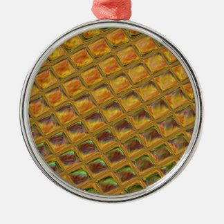 The waffle round metal christmas ornament