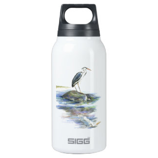 The Wait - Great Blue Heron Thermos Water Bottle