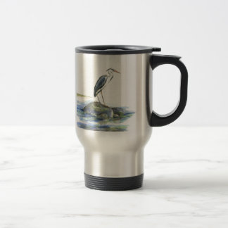 The Wait - Great Blue Heron Travel Mug