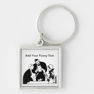 The Waiter - Restaurant Humor Silver-Colored Square Keychain