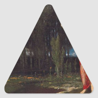 The Wake-Up Spring by Arnold Böcklin Triangle Sticker