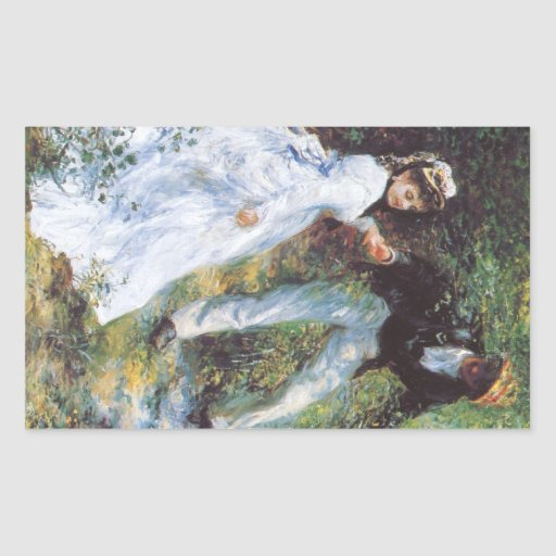 The walk by Pierre Renoir Rectangle Stickers