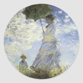 The Walk, Lady with a Parasol Classic Round Sticker