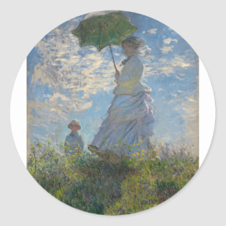 The Walk, Woman with a Parasol (1875) Classic Round Sticker