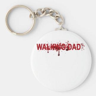 The WALKING DAD (on dark) Father's Day Zombie T-sh Basic Round Button Keychain