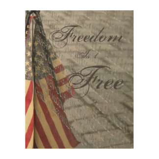 The Wall and American Flag Canvas Wood Print