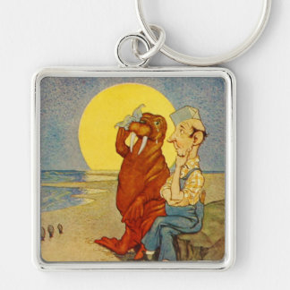 The Walrus and the Carpenter Silver-Colored Square Keychain
