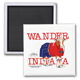The Wander Indiana Cow 2 Inch Square Magnet