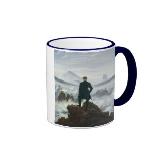 The Wanderer above the Sea of Fog, 1818 Ringer Coffee Mug