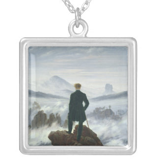 The Wanderer above the Sea of Fog, 1818 Square Pendant Necklace