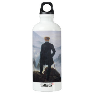 The wanderer above the sea of fog aluminum water bottle