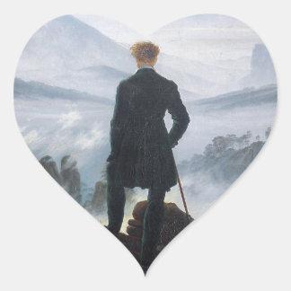 The wanderer above the sea of fog by Caspar David Heart Sticker