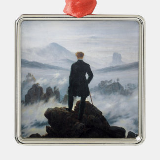 The wanderer above the sea of fog by Caspar David Square Metal Christmas Ornament