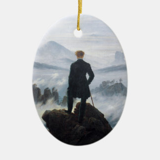 The wanderer above the sea of fog by Caspar David Double-Sided Oval Ceramic Christmas Ornament
