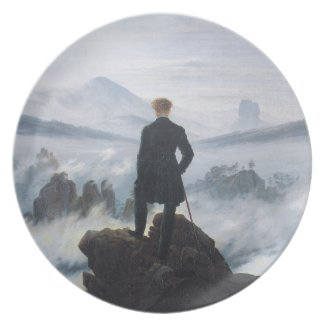 The wanderer above the sea of fog by Caspar David Dinner Plate