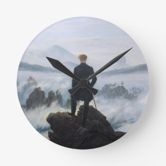 The wanderer above the sea of fog by Caspar David Round Clock