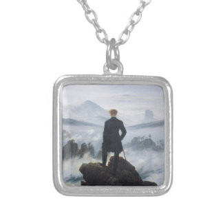 The wanderer above the sea of fog by Caspar David Silver Plated Necklace