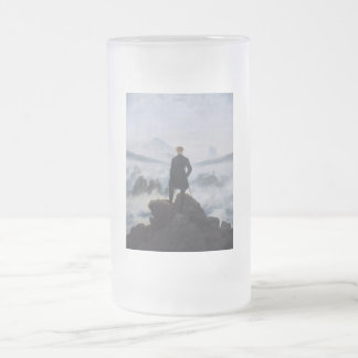The wanderer above the sea of fog frosted glass beer mug