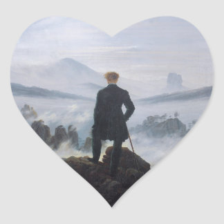 The wanderer above the sea of fog heart sticker