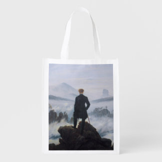 The wanderer above the sea of fog reusable grocery bag