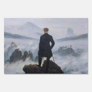 The wanderer above the sea of fog lawn sign