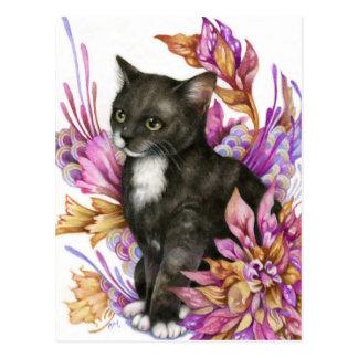 The Wanderer - Tuxedo Cat Art Postcard