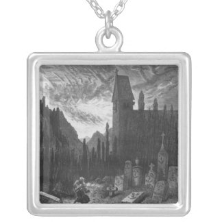The Wandering Jew in the cemetery Silver Plated Necklace