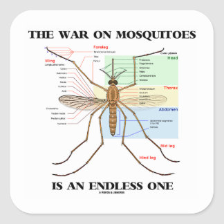 The War On Mosquitoes Is An Endless One (Mosquito) Square Sticker