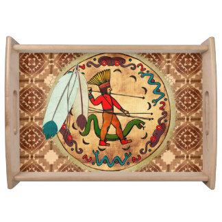 The Warrior Native American Folk Art Serving Platters