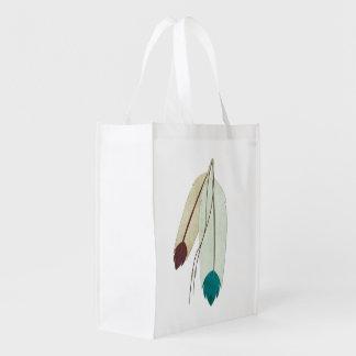 The Warrior Native American Folk Art Reusable Grocery Bag