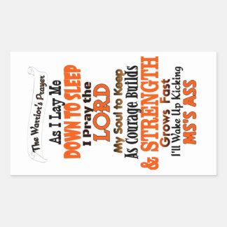 The Warrior's Prayer   MS Rectangular Sticker