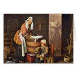 The Washerwoman,  By Chardin Jean-Baptiste Siméon Cards