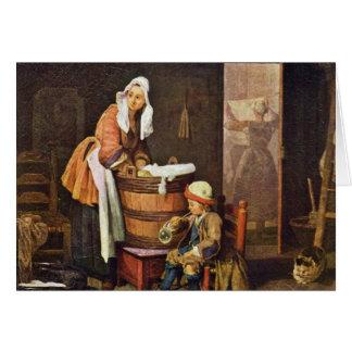 The Washerwoman,  By Chardin Jean-Baptiste Siméon Card