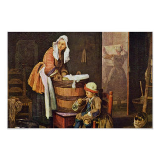 The Washerwoman,  By Chardin Jean-Baptiste Siméon Posters