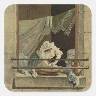 The Washerwoman, engraved by J. Laurent Julien (c1 Square Sticker