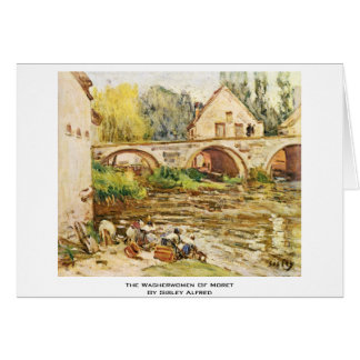 The Washerwomen Of Moret By Sisley Alfred Greeting Card