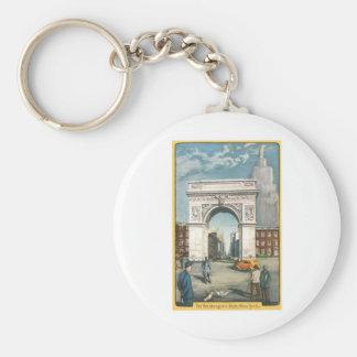 The Washington Arch. New York. Vintage Painting. Keychain
