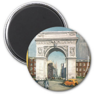 The Washington Arch. New York. Vintage Painting. Magnet