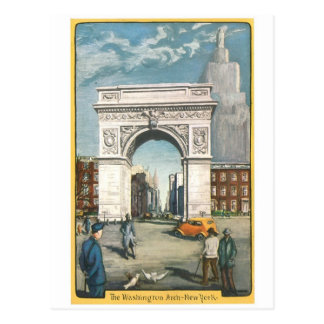 The Washington Arch. New York. Vintage Painting. Postcard