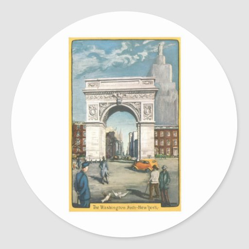 The Washington Arch. New York. Vintage Painting. Round Stickers