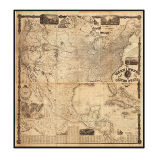 The Washington Map of the United States (1861) Canvas Print