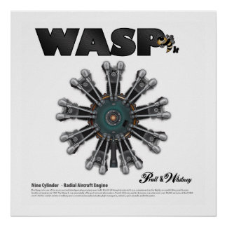 """The """"Wasp Jr."""" Radial Engine Art Poster"""