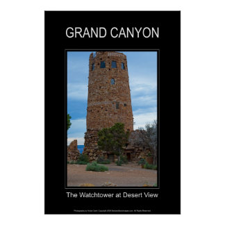 The Watchtower at Desert View 4888 Black Poster