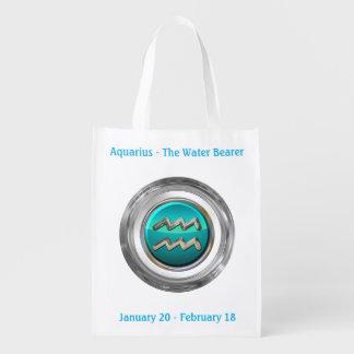 The Water Bearer - Aquarius Horoscope Sign Grocery Bag