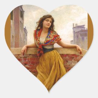 The Water Carrier 1908 ~ Eugene de Blaas Heart Sticker