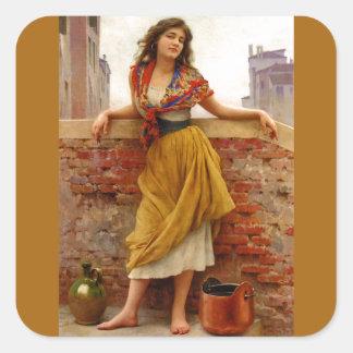 The Water Carrier 1908 ~ Eugene de Blaas Square Sticker