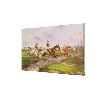 The Water Jump: the Autumn Steeplechase at Ballara Canvas Print