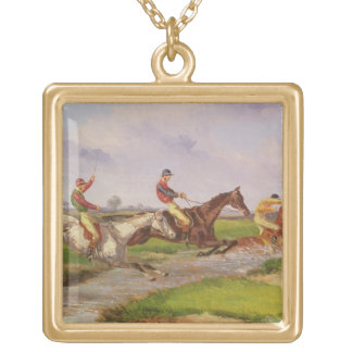 The Water Jump: the Autumn Steeplechase at Ballara Gold Plated Necklace