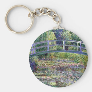 The Water Lily Pond by Claude Monet Basic Round Button Keychain