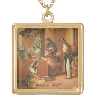 The Water Place (Tortugo) Square Pendant Necklace